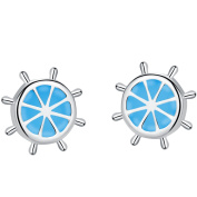 SILVERAGE 925 Sterling Silver Round Blue Sea Stud Earrings Fashion Jewellery For Women