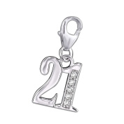 """21"" Charm with Clip On Clasp - 925 Sterling Silver - With Five Cubic Zirconia Stones - Size"