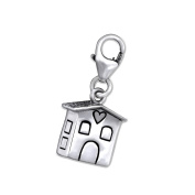 House Shaped Charm with Clip On Clasp - 925 Sterling Silver - Size