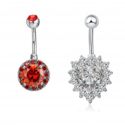 HuaCan Cubic Zirconia Navel ring + Rhinestone Navel Ring for Body Piercing