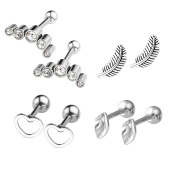 JOVIVI 8pc Stainless Steel Leaf/Crescent/Feather/Heart Barbell Cartilage Tragus Helix Stud Earrings 16 Gauge 0.6cm Bar