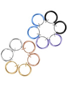 Mudder Non-pierced Ear Hoops Fake Earrings Nose Ring Ear Lip Clip Body Jewellery, 6 Colours, 12 Pieces