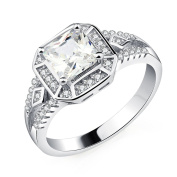 OBSEDE Womens Jewellery Square Diamond Zirconia Ring for Wedding Party Cocktail