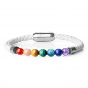 "Womens Magentic Clasp Leather with Genuine 7 Chakra Stone Mala Beads Bracelet 7.5""/19cm"