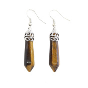 1 Pair Of Real Natural Quartz Earrings , Healing Point Dangling Earrings for Women
