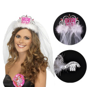 CCINEE Bride To Be Crown Tiara with White Veil Hen Night Party Bridal Shower Decoration