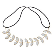Lux Accessories Floral Flower Leaf Pave Crystal Stretch Headband Head Band