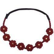 Lux Accessories Fabric Woven Red Floral Flower Stretch Headband Head Band