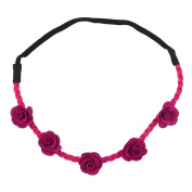 Lux Accessories Purple Pink Fuschia Rose Fabric Woven Floral Flower Stretch Headband Head Band