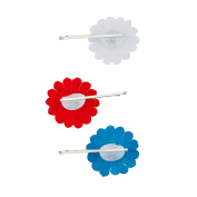 Lux Accessories UK United Kingdom France Fabric Sunflower Red White Blue Americana Floral Flower Hair Clip Set