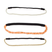 Lux Accessories Woven Pink Stretch Headband Head Band Set