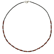 I Be, Schwarzers Spinel, Garnet Necklace/Chain 925 Sterling Silver Lobster Claw Clasp in a Gift Box, 446621/44