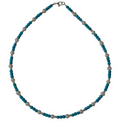 I Be Turquoise Faceted Collar Tennis Necklace Freshwater Pearls Diameter 4 mm 925 Sterling Silver with Lobster Clasp, 44616805 45