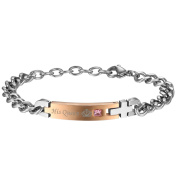 JewelryWe His & Hers Matching Stainless Steel His Queen Her King Couple Bracelets Set,Anniversary Gifts