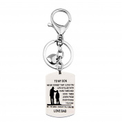 To My Son Always Remember You Are Braver Than You Believe Necklace and Keychain Inspirational Graduation Gift