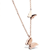 IzuBizu London Butterfly Charm Pendant Rose 18CT Gold Plated Vintage Animal Necklace - Free Gift Box