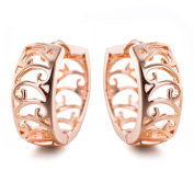 YAZILIND Elegant Simple Design Rose Gold Plated Small Hollow Hoop Earrings for Women