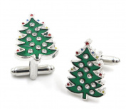 Lumanuby 1 Pair Men's Cufflinks Christmas Gift Christmas Tree Cufflinks Shirt Cufflinks Cuff Links Men's Gift Clothes Brooches Accessories Business Wedding Cufflinks Gift
