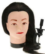 Salon Hairdressing Training Head With 50% Real Human Hair Mannequin Doll + Clamp
