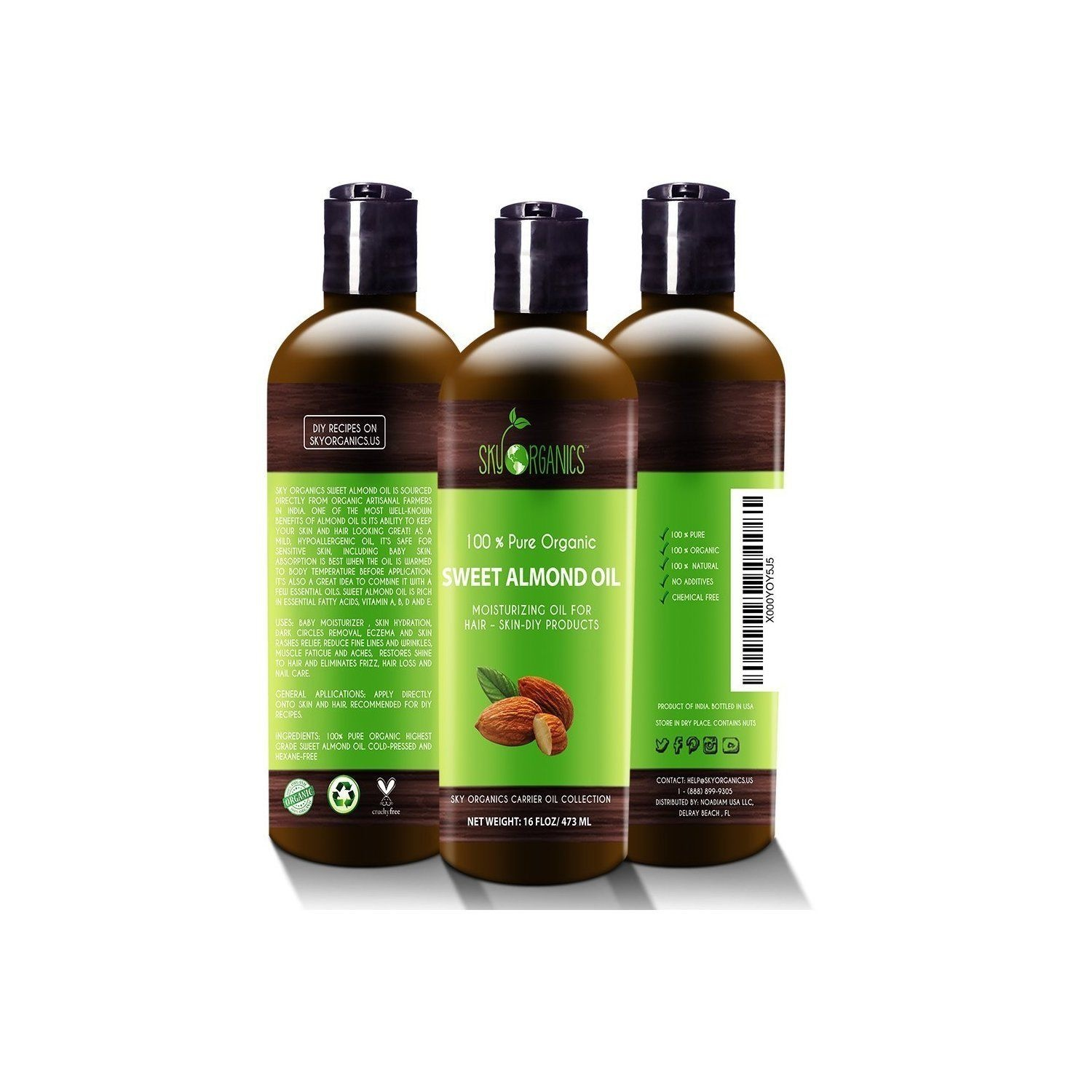 Best Sweet Almond Oil by Sky Organics 473ml- 100% Pure, Cold-Pressed,  Organic Almond Oil  Great As a Baby Oil- Works Wonder On Wrinkles-  Anti-Ageing