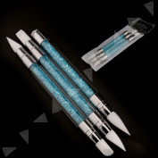 3pcs Carved Pen Carving Brushes Tool Double-head Handle Nail Art Silicone Head
