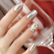 Artplus 24pcs Pearl Silver With Crystals 3d White Flowers False Nails French