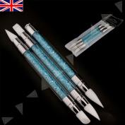 Silicone Nail Art Brush Holographic Rose Gold Mirror Chrome Powder Tool Pen Uk