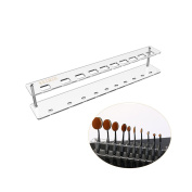 Ruimio Oval Makeup Brush Holder Makeup Brush Stand Clear Acrylic 10 Lattices