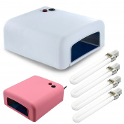 36w Uv Lamp Nail Art Dryer Gel Polish Curing Manicure With 4 Bulbs & Timer
