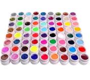 72 Pure Colour Glitter Gel Decoration Uv Gel Nail Art Tips Extension Manicure Set