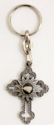 Nativity cross key chain with a stone from in the centre from the Holy City of Bethlehem Christian Catholic key ring