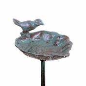 Freestanding Garden Bird Feeder Verdigris Cast Iron Leaf On A Stake