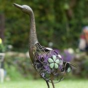 Metal Standing Duck With Glow In Dark Beads Contemporary Sculpture Garden By La
