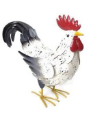 Large Painted Metal Rooster Garden Ornament