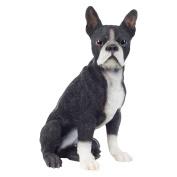 Realistic 41cm Sitting Boston Terrier Dog Statue Polyresin Garden Ornament