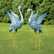 Bits And Pieces - Japanese Blue Heron Metal Garden Sculpture Set - Two Metal For