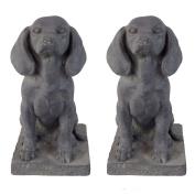 Dark Grey Stone Look Fibreclay Sitting Pointer Dog Garden Statue Ornament