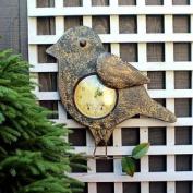 Embossed Effect Bird Clock Ideal Garden Decor