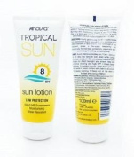 ** Anovia Tropical Sun Lotion Spf 8 100ml New** Water Resistant Uva Uvb Low