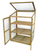 Deluxe Hardwood Growhouse Mini Greenhouse - Brown Wooden Birch