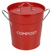 Red Metal Kitchen Compost Caddy - Composting Bin For Food Waste Recycling