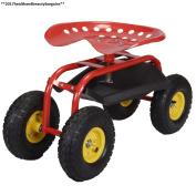 Costway Rolling Garden Cart Work Seat With Heavy Duty Tool Tray Gardening...