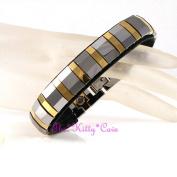 Magnetic Tungsten Carbide Unisex Arthritis Relief 24k Gold Pl & Rhodium Bracelet