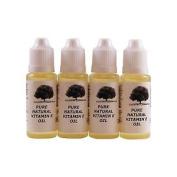 4 X Pure Natural Vitamin E Oil 15ml In Dropper Bottle.