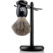 Miusco 100% Pure Badger Hair Shaving Brush And Luxury Stand Shaving Set, Black