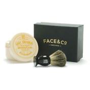 Geo F Trumper Black, Pure Badger Shaving Brush & Sandalwood Shave Cream Set