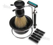 Useful 4 In 1 Shaving Razor Beard Clean Set Brush Soap Dish Stand Razor Blades