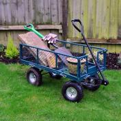 Large Heavy Duty Cart Garden Trolley Wheelbarrow Metal Truck Hunged Drop Sides