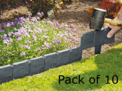 Livivo 10 X Cobbled Stone Effect Garden Edging Plastic Hammer-in Lawn Palisade
