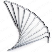 10 X Heavy Duty Metal Tent Pegs Secure Camping Awning Canopy Hook Ground Stakes